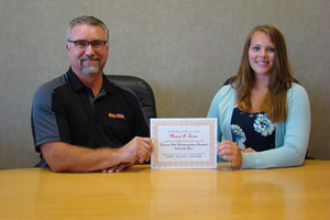 WSTF Scholarship Monica Larsen with Lynxx General Manager Jim Costello