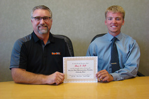 WSTF Scholarship Winner Adam Bell with Lynxx General Manager Jim Costello[1]