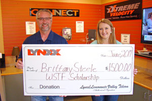 WSTF Scholarship Winner and New Lisbon High School Graduate Brittany Steele and LYNXX CEO Jim Costello
